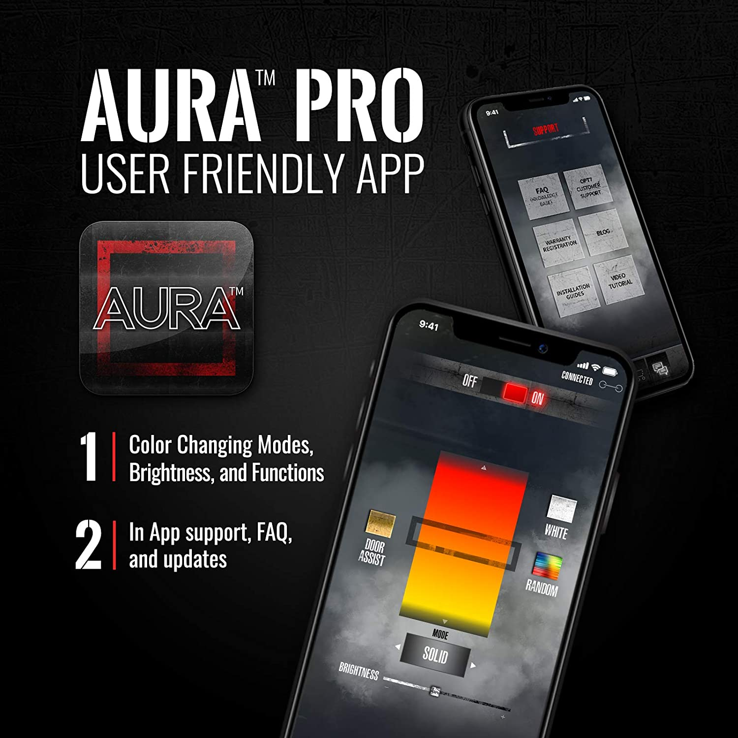 OPT7 Aura PRO Bluetooth 4pc LED Lighting Kit for Boat 24 Multi-Color Strips w//SoundSync-Waterproof PeelnStick Front Grill Valence-App Enabled-iOS /& Android