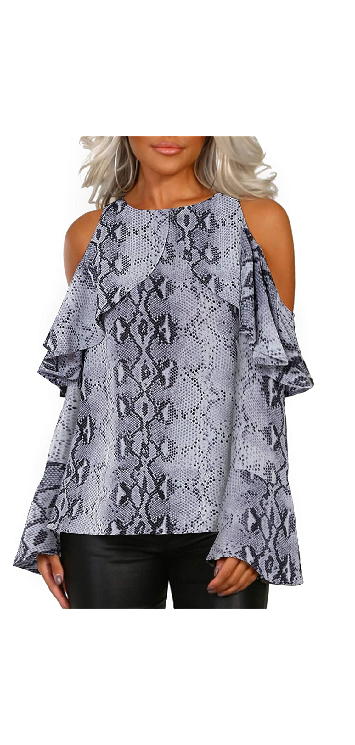 Long Sleeves Tops Blouse Shirts For Women Leopard Cold