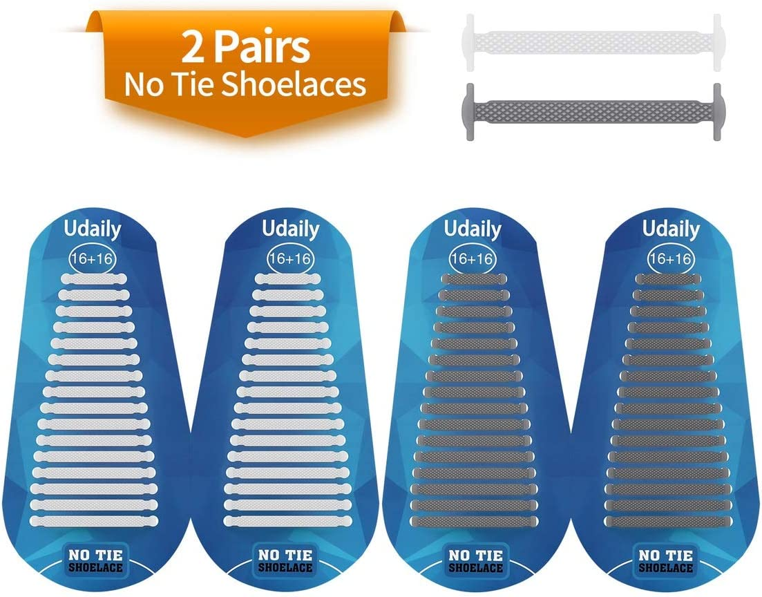 Elastic Silicone Shoe Laces for Sneaker Udaily 2 Pairs No Tie Shoelaces for Kids and Adults