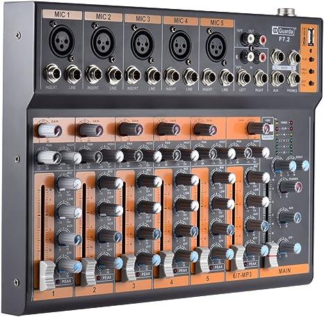 ammoon Portátil 7 Canales Línea Mic Mezclador de Audio Mesa de ...