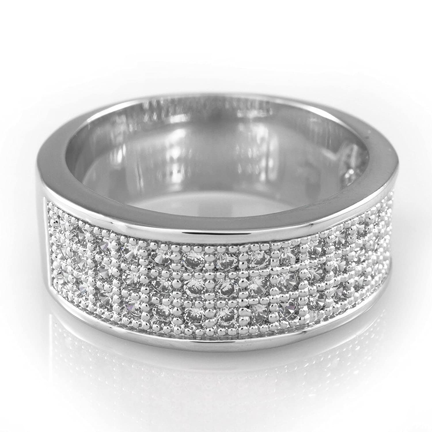 18k White Gold Plated Iced Out Engagement Cz Ring 5xeli0106201 9 99