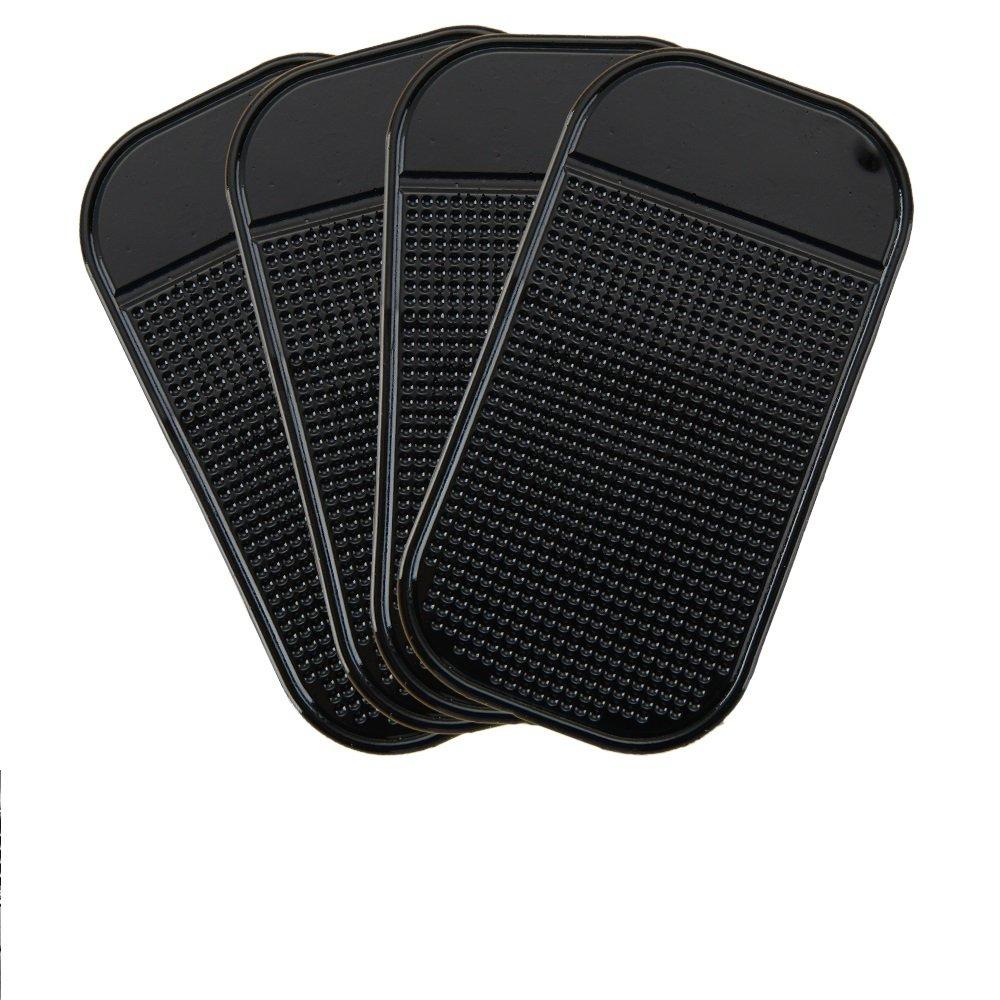 DHOUTDOORS 4PCS Non-Slip Mats Car Dash Sticky Pads for Mobile Phones Glasses Keys Coins Black