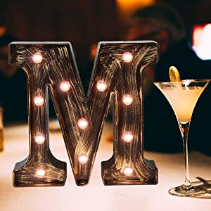 Elnsivo Vintage LED Marquee Letter Lights Light Up Industrial 26 Alphabet Name Signs Bar Cafe Initials Decor for Birthday Party Christmas Wedding Events