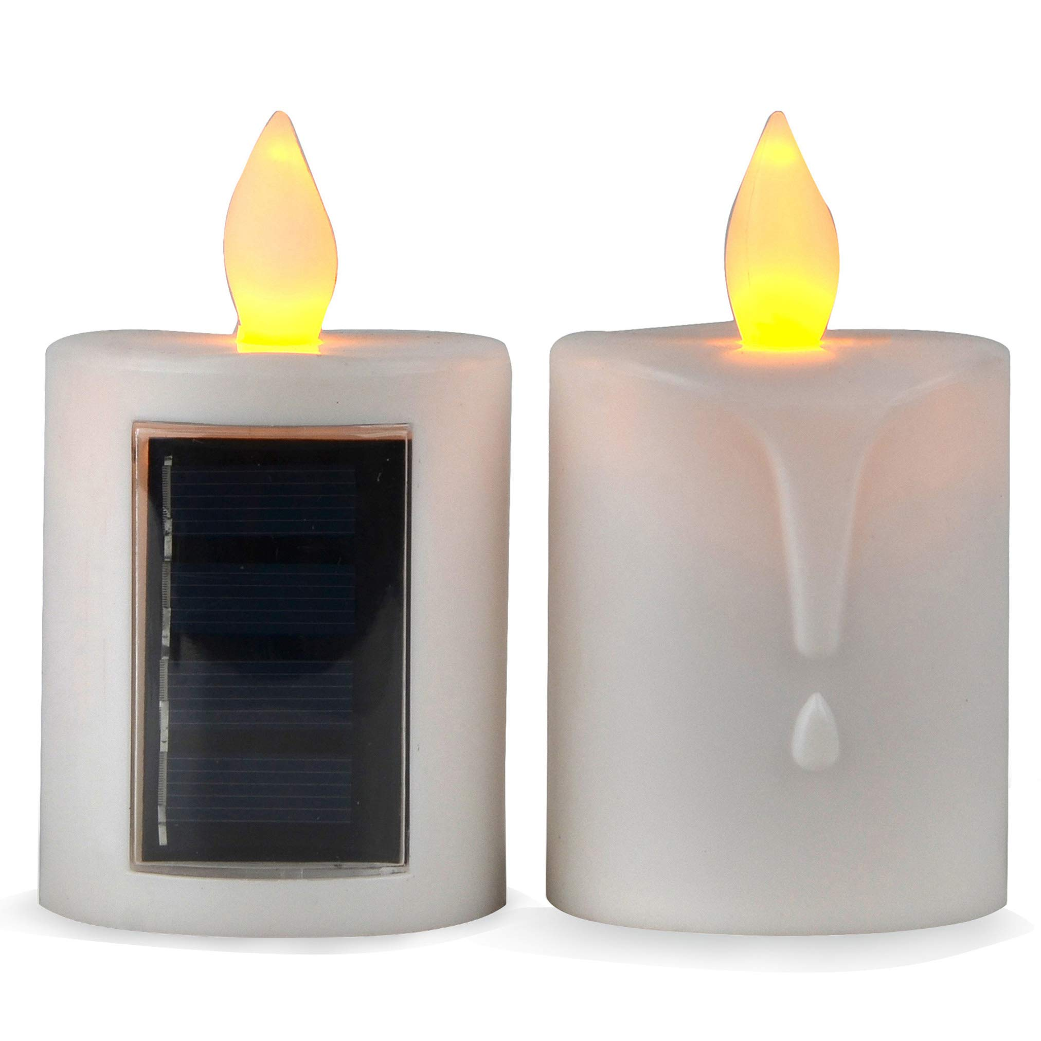 Solar Powered LED Candle Light Flameless Electronic Plastic LED Light for Outdoor Camping, 2PCS
