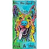 Dean Russo Love and a Dog German Shepherd Cotton Beach Towel