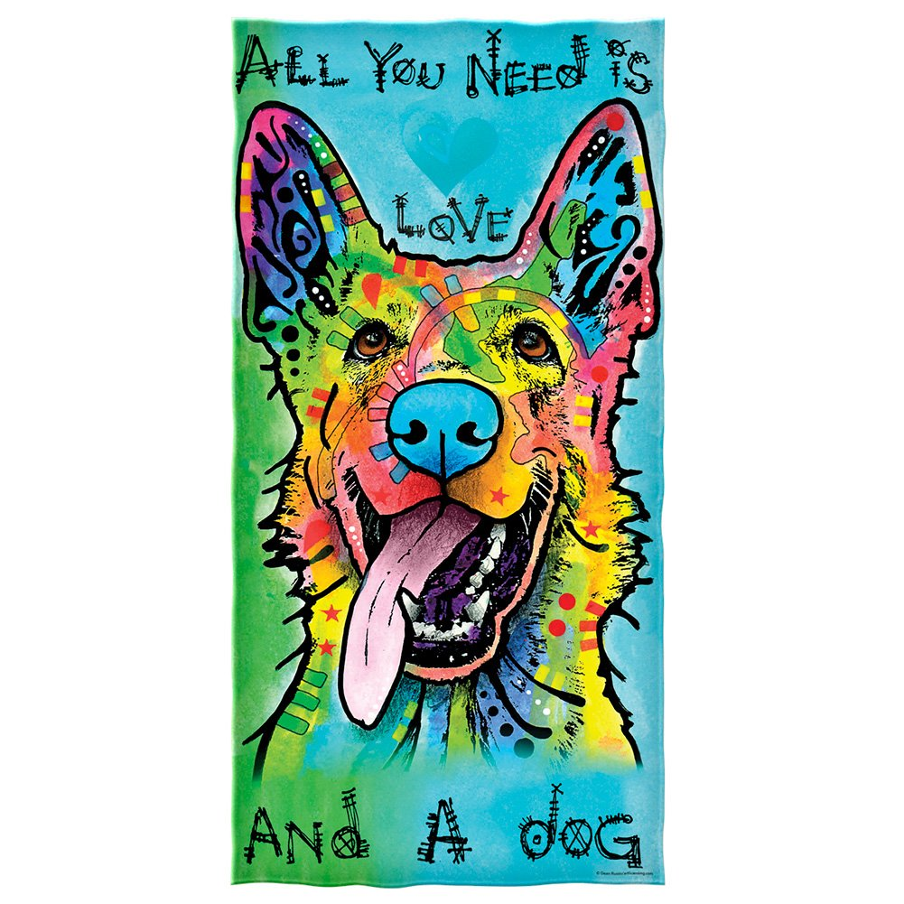 Dean Russo Love and a Dog German Shepherd Cotton Beach Towel