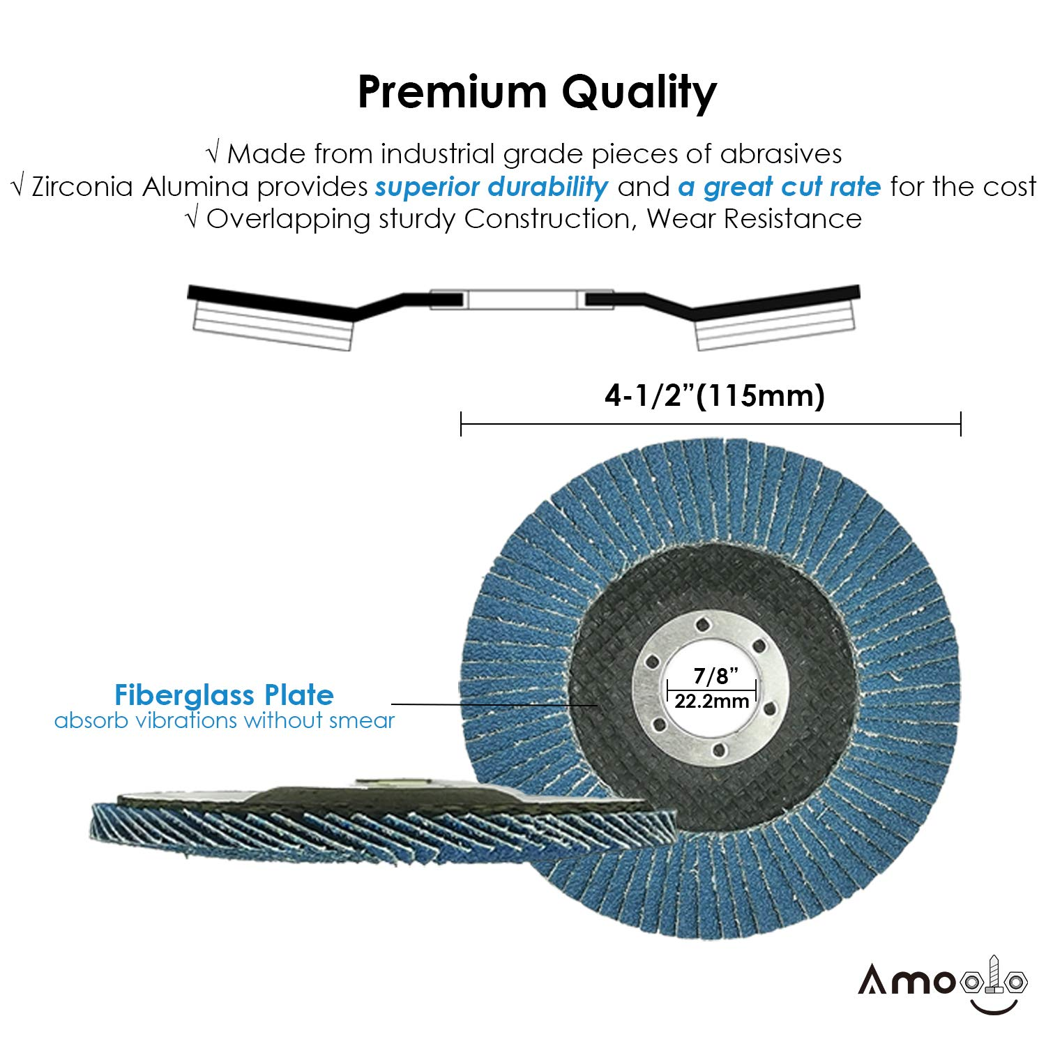 amoolo 4 1//2 Flap Disc Abrasive Grinding Wheel 40 60 80 120 Grit 20 Pack T29 Zirconia Angle Grinder Sanding Disc 7//8 inch Arbor Size