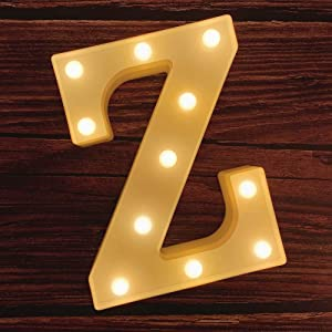 MUMUXI LED Marquee Letter Lights 26 Alphabet Light Up Marquee Number Letters Sign for Wedding Birthday Party Battery Powered Christmas Lamp Night Light Home Bar Decoration (Z)