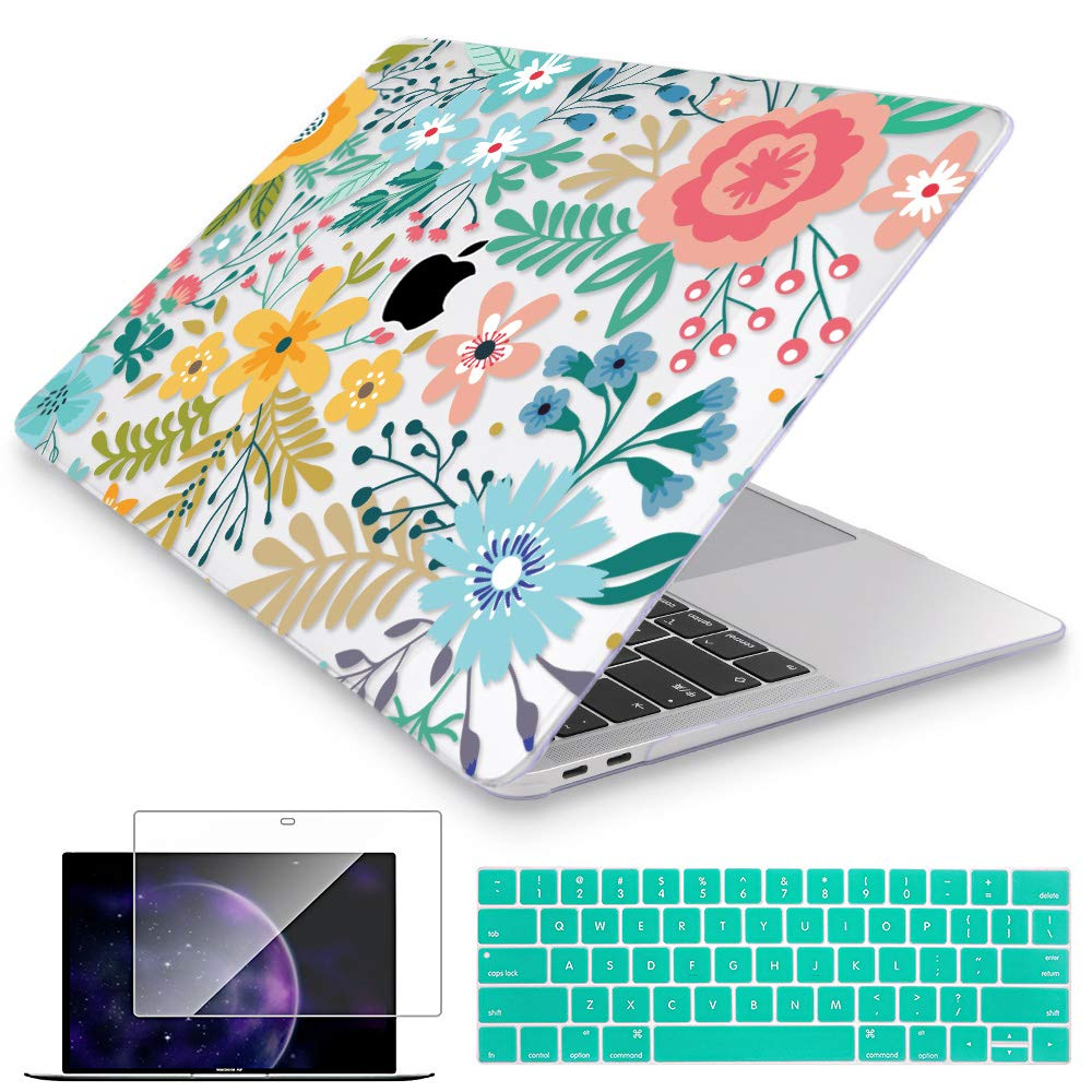 Mektron MacBook Pro 13 inch Case 2019 2018 2017 2016 Release A2159 A1989 A1706 A1708, Garden Flowers Hard Shell Cover for New 13 inch Mac Pro with Touch bar w/Keyboard Cover & Screen Protector