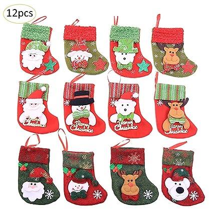Feiledi® - Juego de 12 Calcetines de Navidad para decoración de árbol de Navidad,