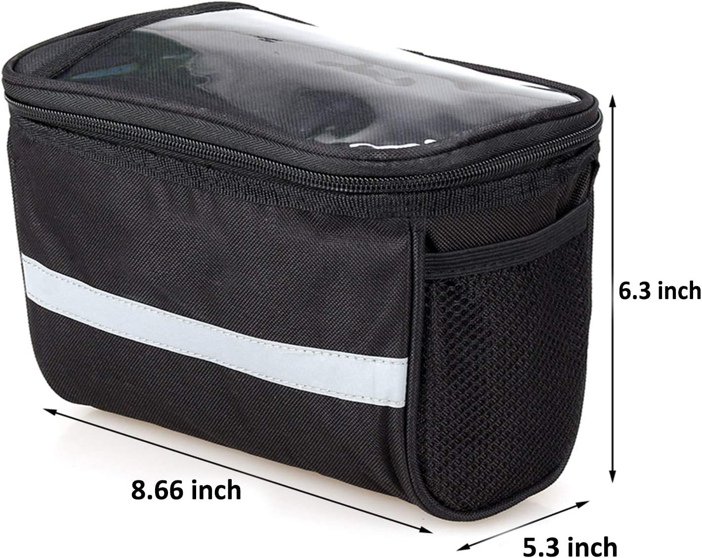 Bike Handlebar Bag Basket Front Bag Large Cpacity Black Cycling Accessories with Touchscreen Window and Detachable Shoulder Strap Water Resistant Bicycle Storage Bag