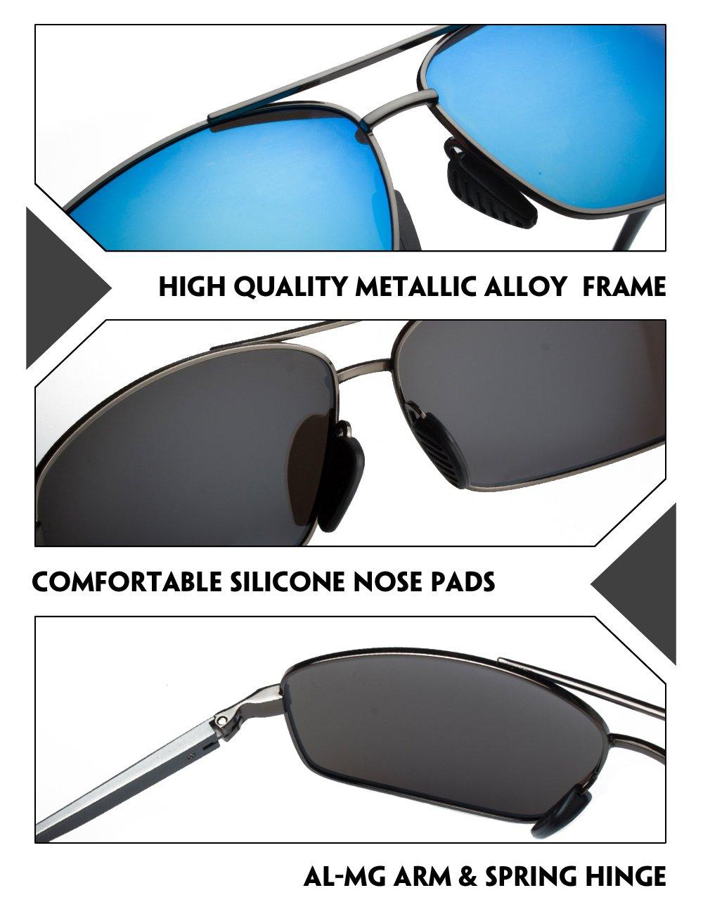 IALUKU Rectangular Polarized Sunglasses for Men Square Retro Aviator Sunglasses (Grey / Blue, 60)