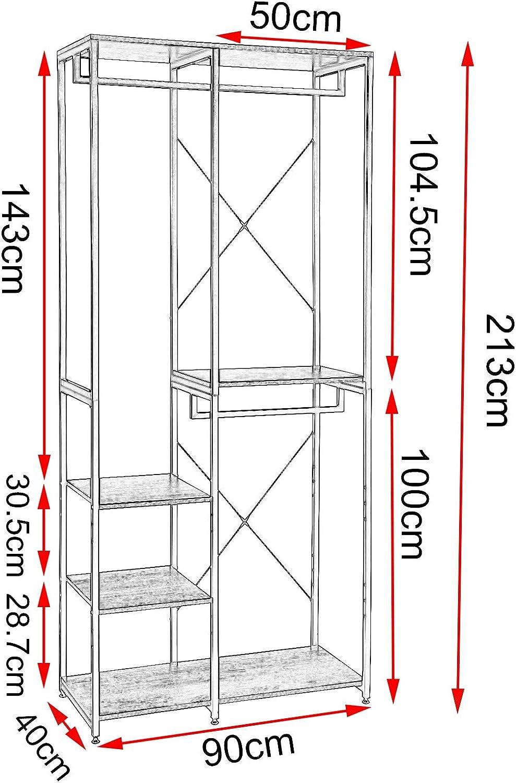 EUGAD Stand Appendiabiti da Terra Multifunzionale con Ripiani Scarpiera Versatile Scaffale Portaoggetti in Metallo e MDF Legno Scuro 0156XJYJ