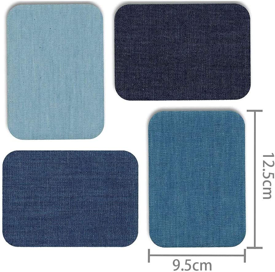 Multicolor Premium Quality Denim Iron-on or Sewing Jean Patches No-Sew Shades of Blue 12 Pieces Assorted Cotton Jeans Repair Kit 4.9x3.7