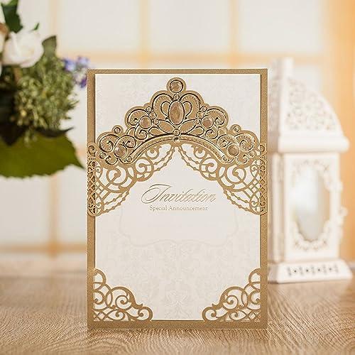 50X Elegant Wedding Invitations Card Gold Laser Cut Birthday Baby Shower Baptism Graduation Party Faovors Invitations Gold