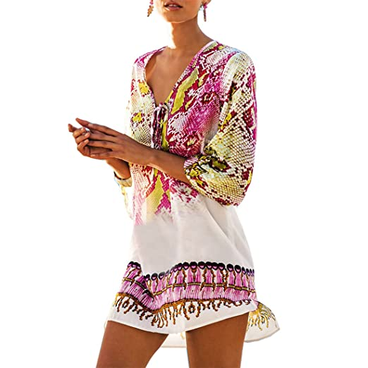 ad2213b7f653b Fortully Women Swimsuit Cover up Kimono Tassel Bathing Sarong Beach Wear Bikini  Dress