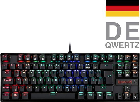 Redragon K552 Mechanische Gaming Tastatur 60% Mini TKL Keyboard mit Rote Schalter 87 Tasten für PC Gaming (RGB Beleuchtet - DE QWERTZ)