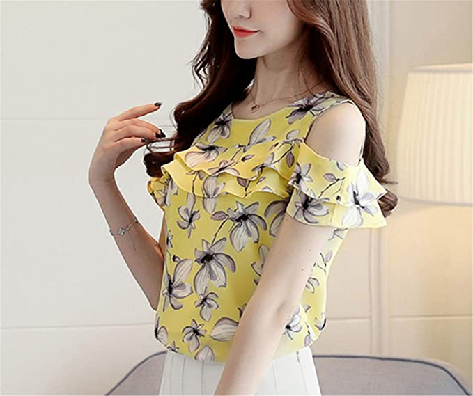 OUXIANGJU Women Summer Off Shoulder Shirts Print Floral Chiffon Ladies Casual Short Sleeve Blouse at Amazon Womens Clothing store: