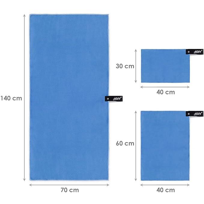 ACTiDRY Set de toallas de microfibra ActiDry 3+1 (70x140, 40x60, 30x40 cm + bolsa) - ligero y absorbente - 9 colores - ideal para deportes y actividades al ...
