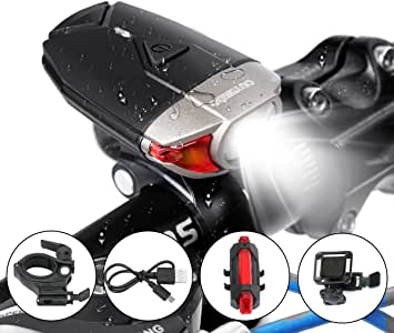 OUTERDO USB Rechargeable Waterproof Bike Light Set,Super Bright Power Saving Headlight Red Rear Light For Mountain Bike Road Bike