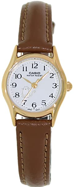 Amazon.com: MTP1094Q 3-Hand Analog Water Resistant Ladies Watch Genuine Leather Band: Casio: Watches