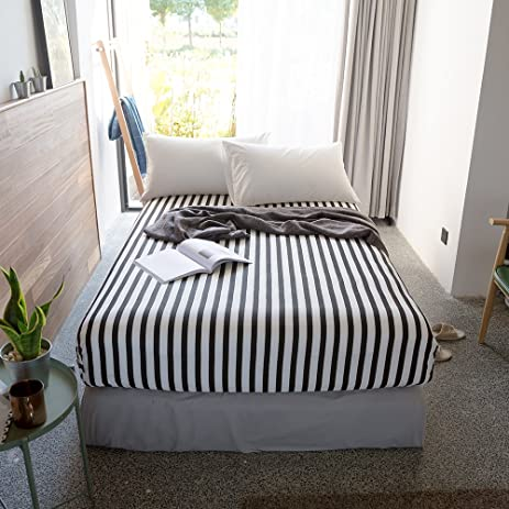 BuLuTu Cotton Stripe Deep Pocket Fitted Bed Sheet Queen Black And  White Breathable,Durable