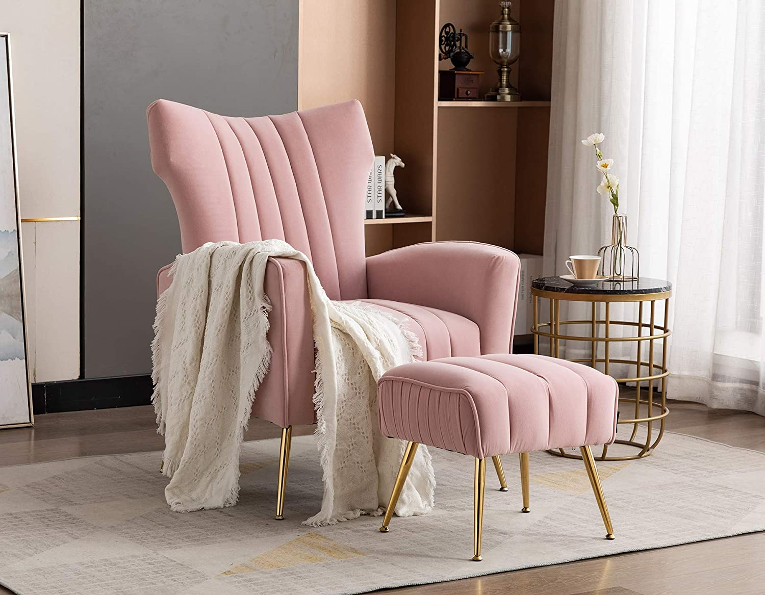 Artechworks Curved Tufted Accent Chair with Metal Gold Legs Velvet Upholstered Arm Club Leisure Modern Chair for Living Room Bedroom Patio, Pink