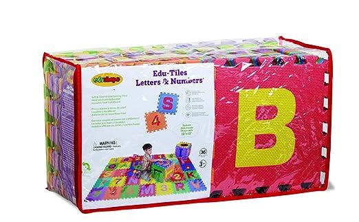 amazoncom edushape edu tiles 36 piece 6x6ft play mat letters numbers set early development playmats baby