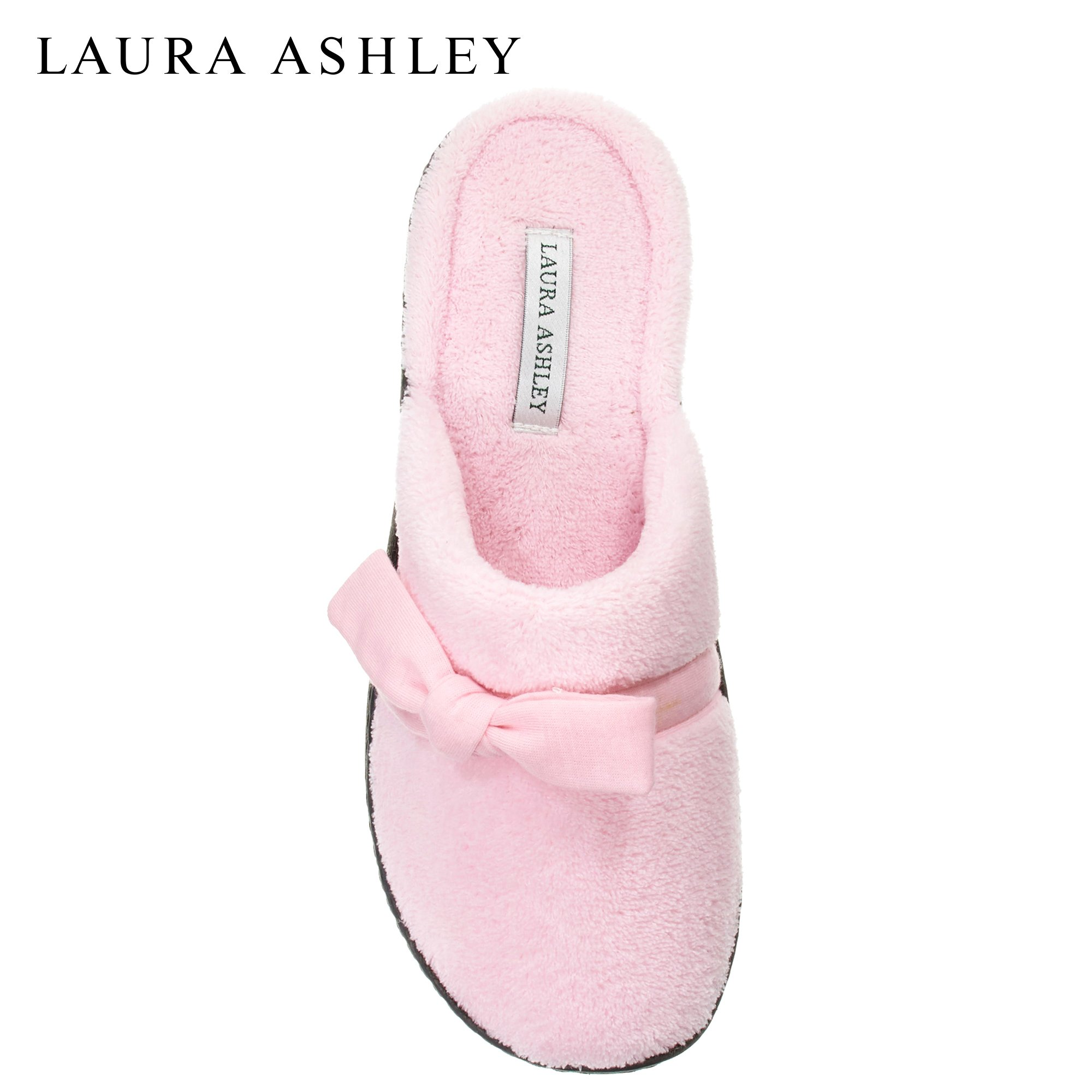 Laura Ashley Womens Rugged Memory Foam Bow Scuff Slippers Pale Pink Medium