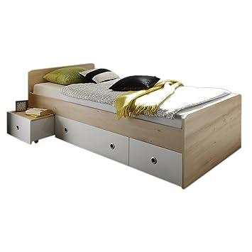 Funktionsbett 90x200 buche  Funktionsbett SUNNY 90x200 cm in Buche und weiß, Kinderbett ...