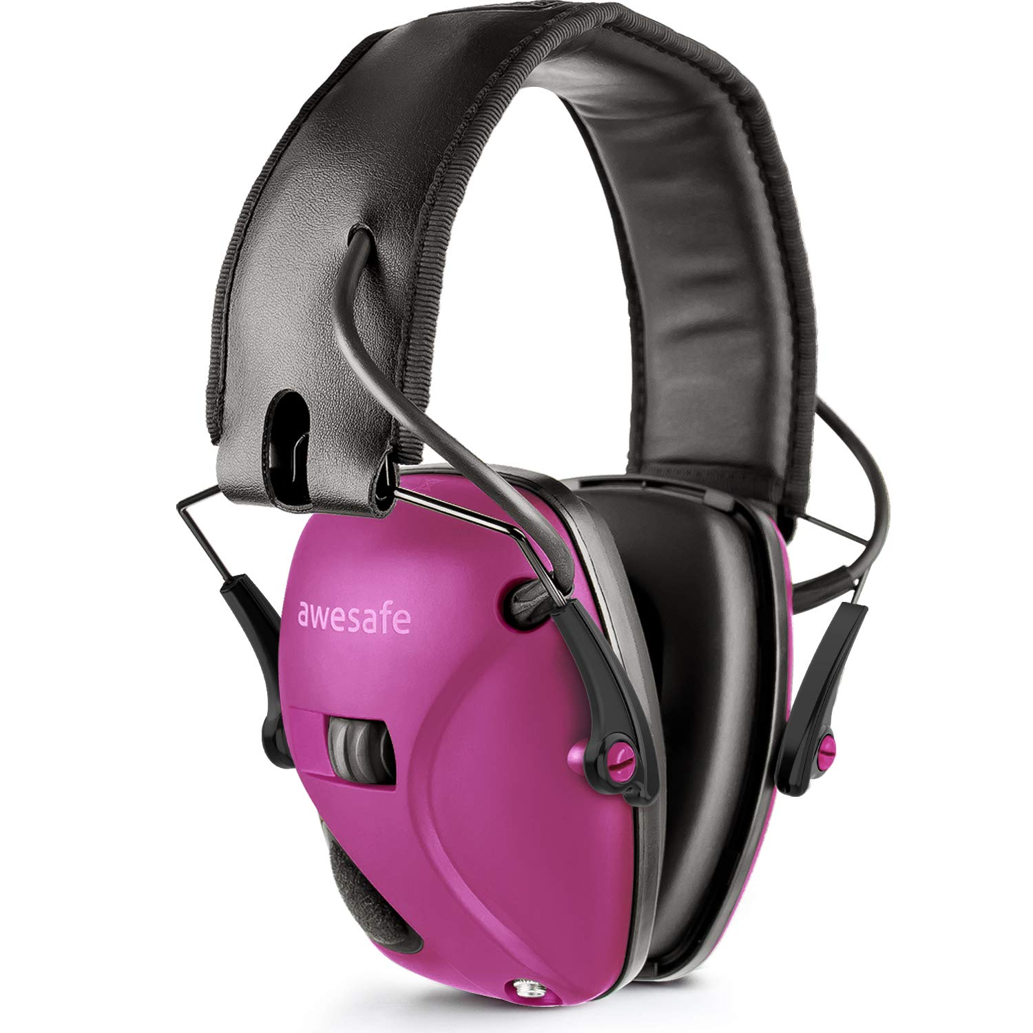 Awesafe Electronic Shooting Earmuff, GF01 Noise Reduction Sound Amplification Electronic Safety Ear Muffs, Ear Protection, NRR 22 dB, Ideal for Shooting and Hunting, Rose Red