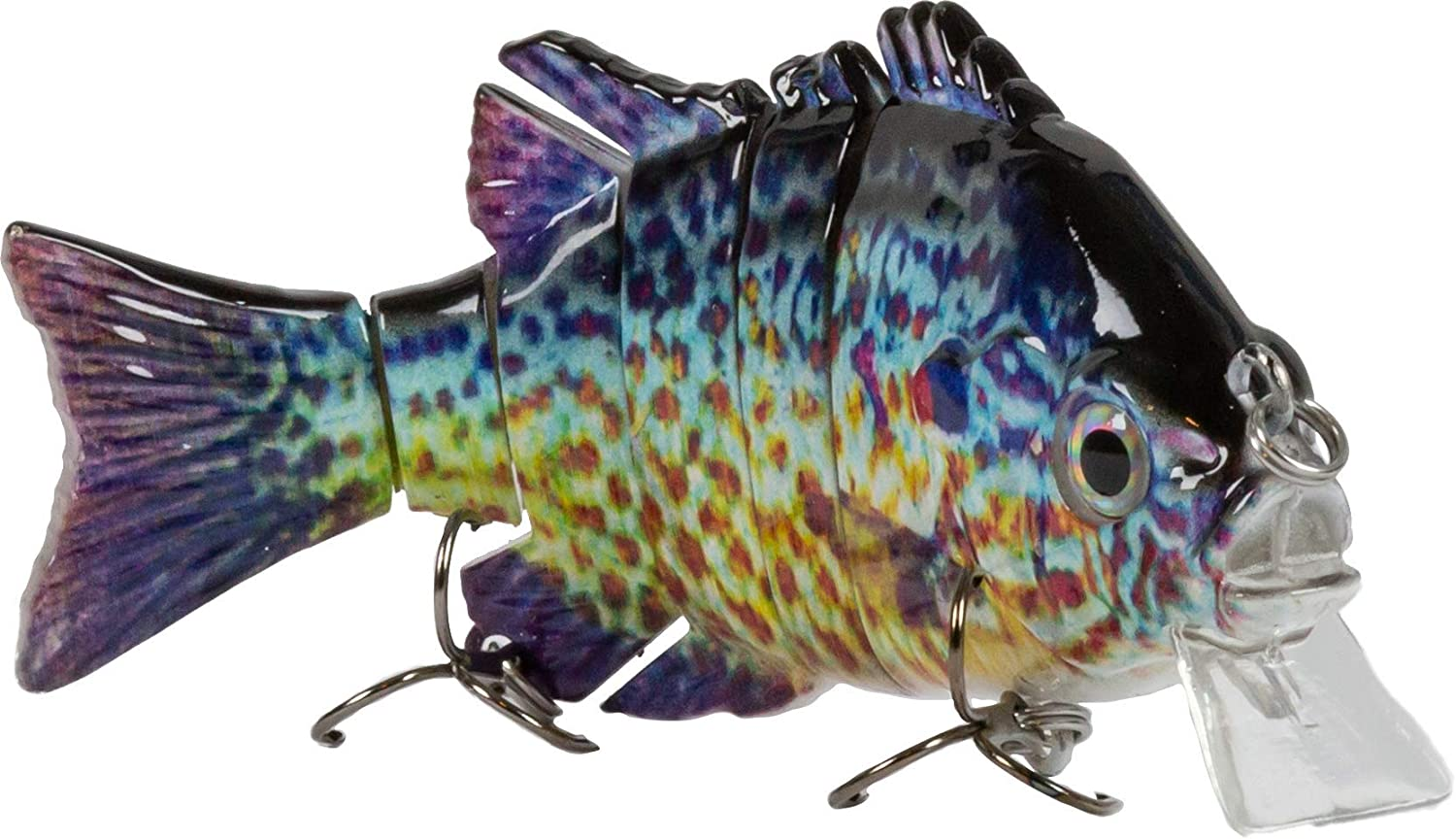 Sunrise Angler 4 Inch Bluegill Jointed Swimbait Curvy S Swim and 3D Prismatic Eyes Sinking Hard Bait Fishing Lure for Freshwater Game Fishing with Textured Lifelike Skin