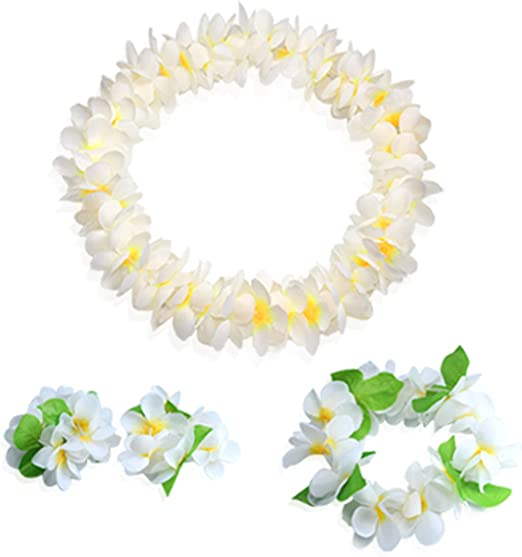 Hawaiian Luau flower Leis Jumbo necklaces bracelets headband set
