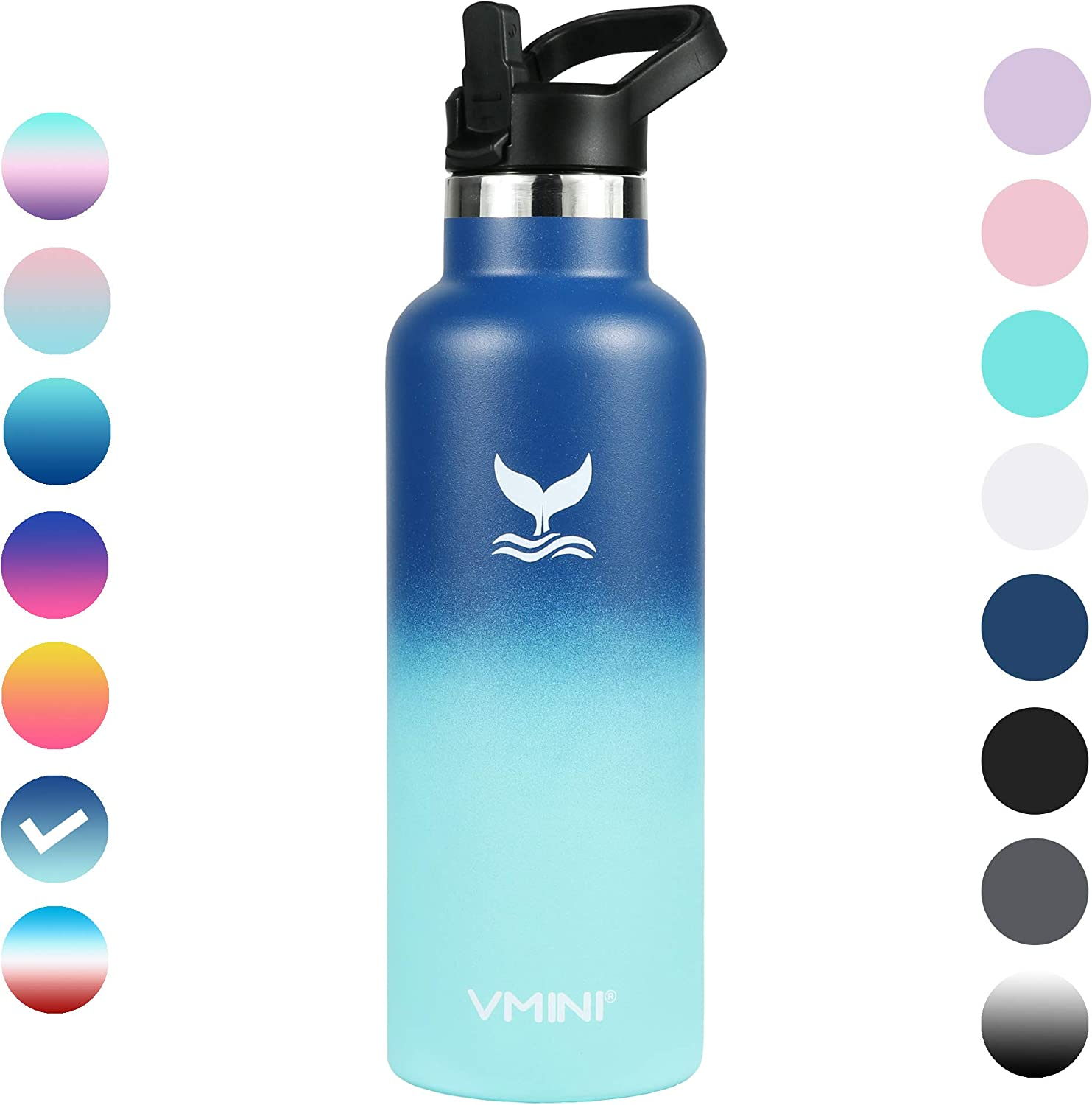 Vmini Water Bottle - Standard Mouth Stainless Steel & Vacuum Insulated Bottle, New Straw Lid with Wide Handle, Gradient Blue+Mint & 22 oz