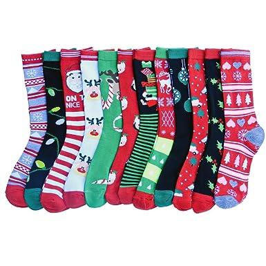 Amazon.com: RSG Teen Girls & Women's Christmas Socks (12-Pack (1 ...