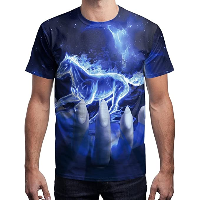 SHRJJ Hombres Y Mujeres Amantes Hip-Hop Sueltos de Gran Tamaño Estilo  Callejero Blusa Sueño Patrón de Impresión 3D Caballo Manga Corta Camiseta   Amazon.es  ... 00debc214c0