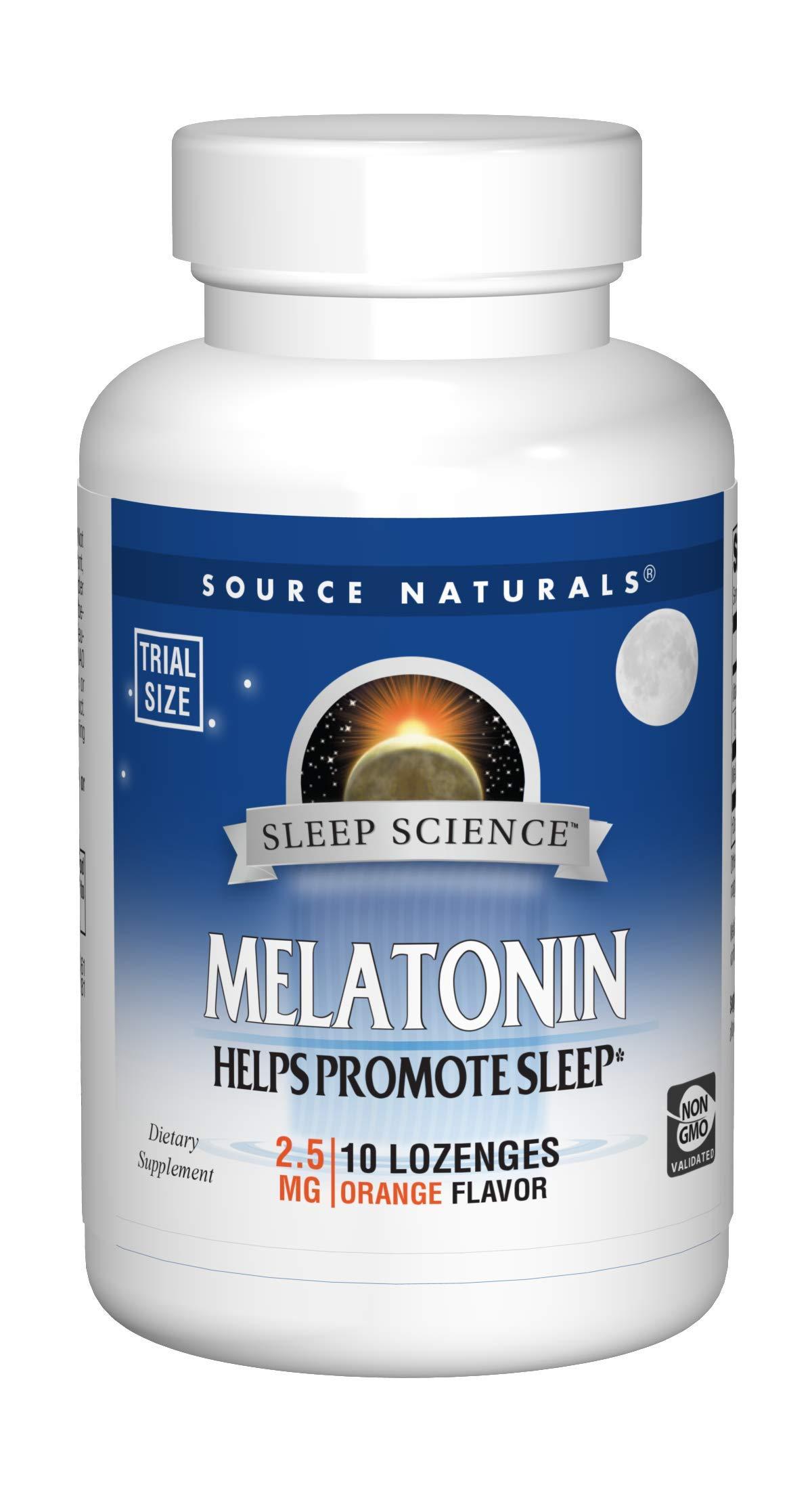 Source Naturals Melatonin 2.5mg Sleep Support, Orange Flavor - 10 Lozenges