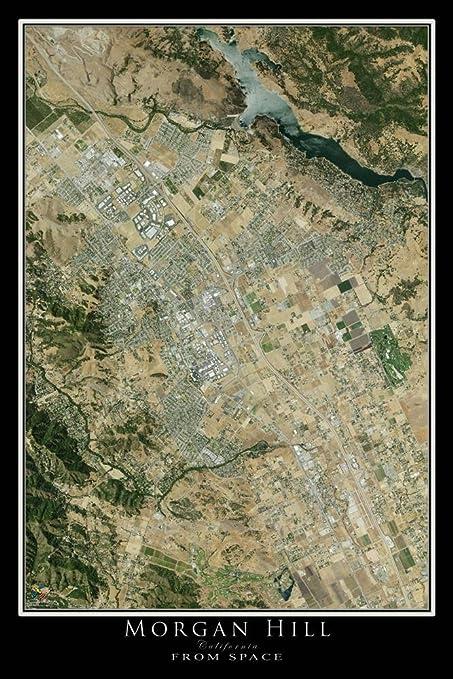 Amazon.com: Terra Prints Morgan Hill California Satellite Poster Map on