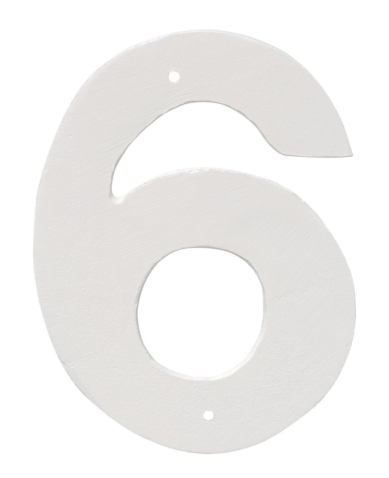 Montague Metal Products 8'' Aluminum House Number 6 Outdoor Plaque, Medium, White
