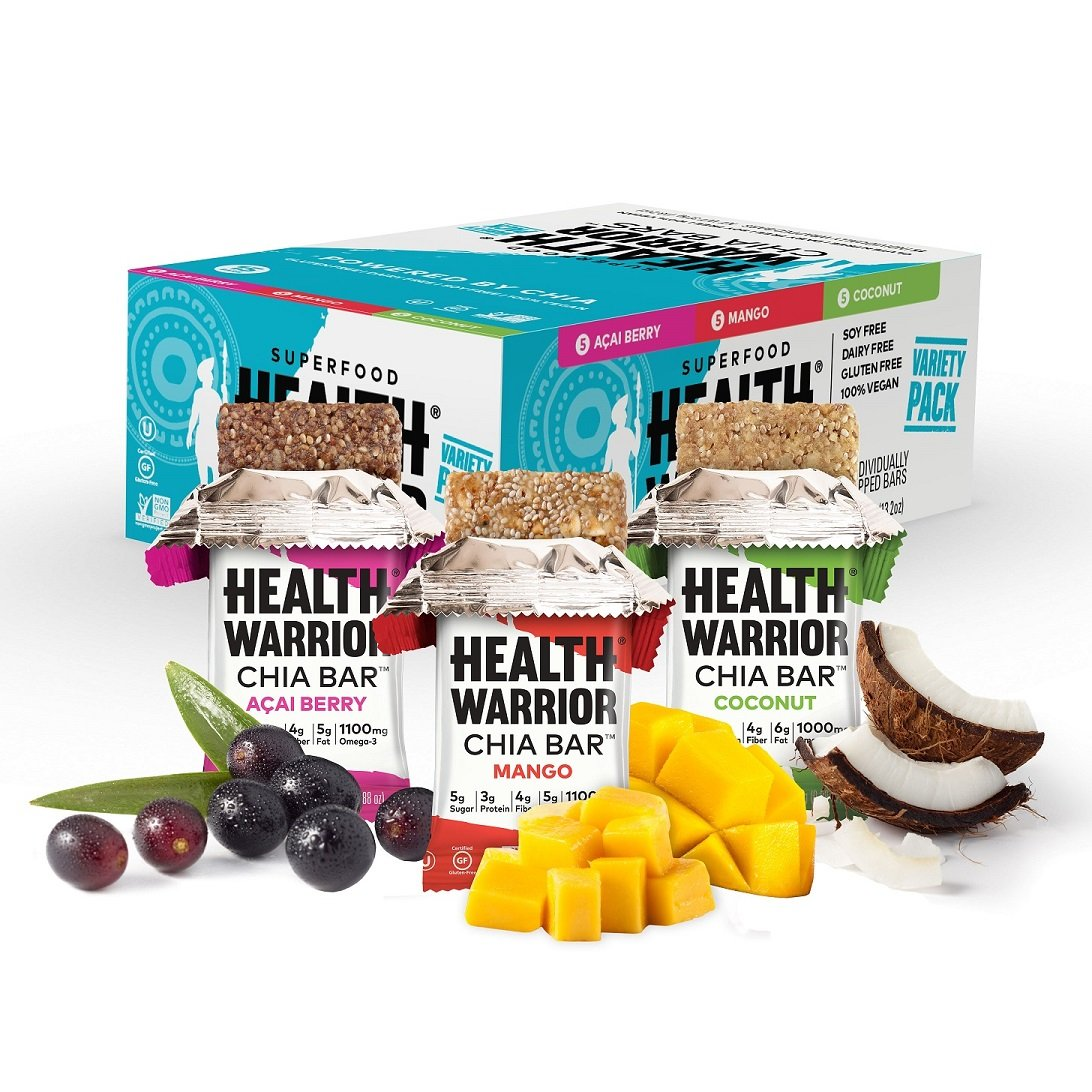 HEALTH WARRIOR Chia Bars, Tropical Variety Pack, Gluten Free, 25g bars, 15 Count