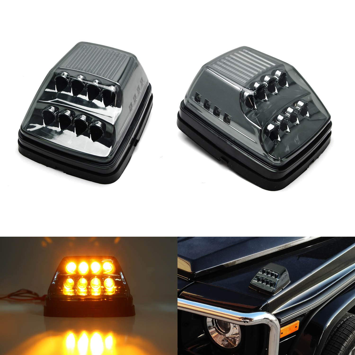 iJDMTOY Smoked Lens Amber LED Front Turn Signal Lamps For 90-up Mercedes W463 G-Class G500 G550 G600 G55 G63 AMG w/White LED Position Lights iJDMTOY Auto Accessories Benz G-Wagon Full LED Turn Signal Assy
