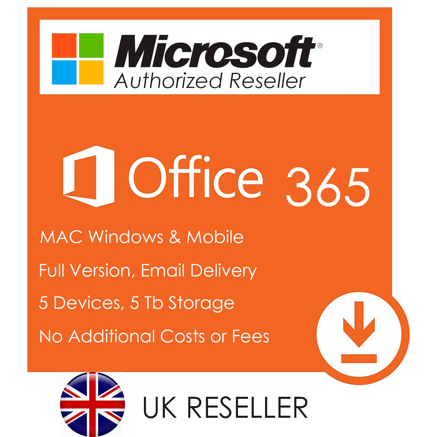 Microsoft Office 365 Account - Office 2016 for 5 Devices 32/64 Bit PC/Mac  and 5Tb Onedrive - Full UK Version - Free Email Delivery