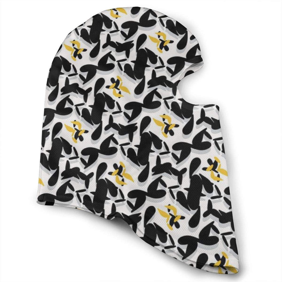 CAClifestyle Yellow Black Geo Abstract Weave Unisex Windproof Balaclavas Full Face Mask Hood