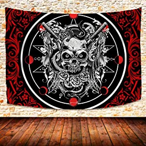 UHOMETAP Cool Goth Gothic Skull Tapestry Wall Hanging Psychedelic Gothic Skull Magical Skeletons Tapestries Hippie Bohemian Skull Tapestry for Bedroom Living Room Dorm 80x60 Inches GTZYUH337