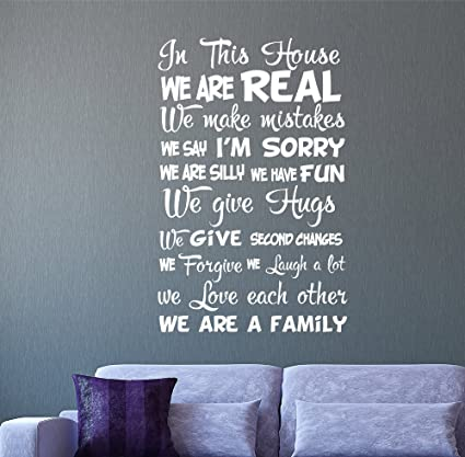 Amazoncom Quote Wall Decal Quote In This House We Are Real