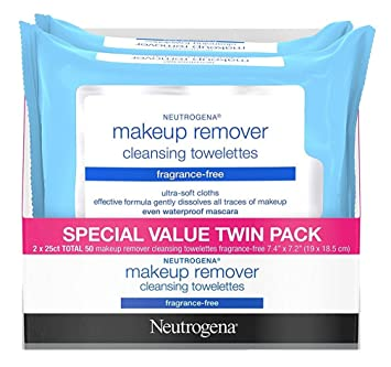 Neutrogena Make-Up Remover Towelettes Fragrance Free 25 Count Twin Pack (3 Pack)