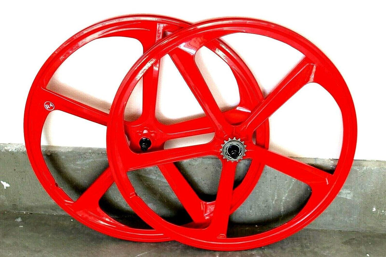 """W// 16T Freewheel Matte Black R4 29/"""" BMX Cruiser 5-Spoke Alloy Rims Wheel Set"""