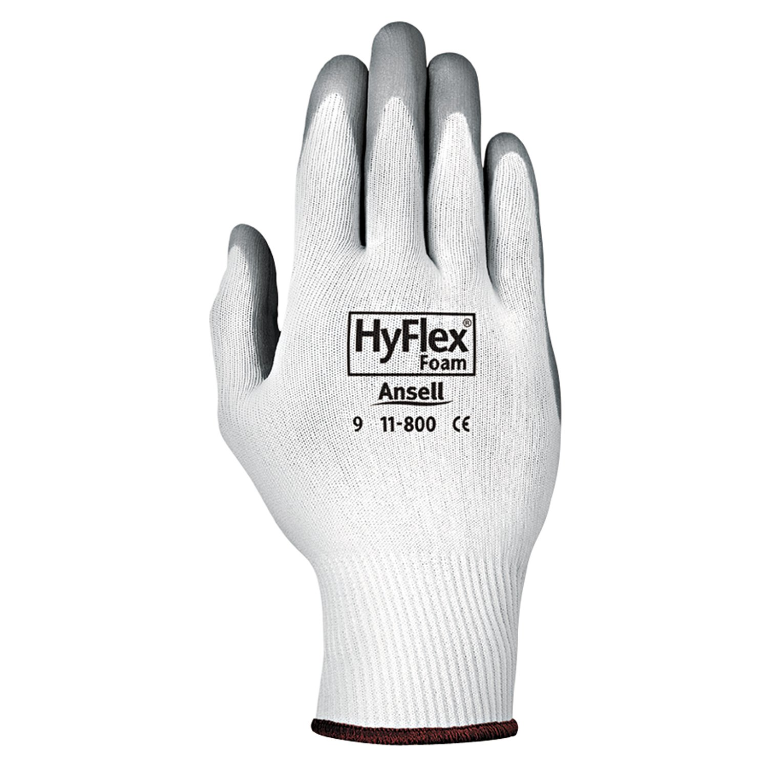Ansell 11-800-8 HyFlex Foam Gloves, Size 8, White/Gray (Pack of 12) 012-11-800-8
