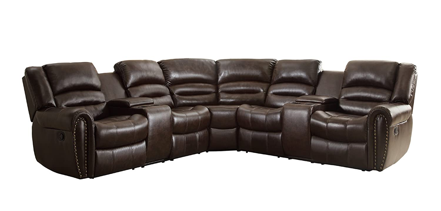 Amazon com homelegance 3 piece bonded leather sectional reclining nail head accent sofa with 2 cup holders console brown kitchen dining