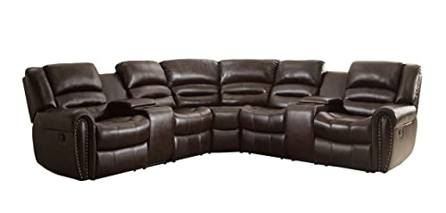 Seat-depth-approx-30-inches-Homelegance-3-Piece-Bonded-Leather-Sectional-Reclining-Nail-Head-Accent-Sofa-with-2-Cup-Holders-Console